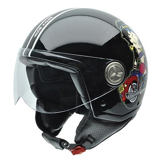 NZI 050274G777 Zeta Motoglitter By Betty Boop, Casque de Moto, Taille XS Multicouleur