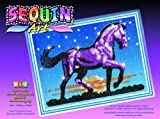 Ksg Arts and Crafts Sequin Art and Bead 1003 Sunset Horse Picture Kit Containing 275mm x 370mm Polystyrene Framed Pre Printed Picture