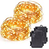 Kohree 2 Pack 120 Micro LEDs string Light Battery Powered on 40ft Long Ultra Thin String Copper Wire, Decor Rope Light with Timer Perfect for Weddings, Party, Bedroom, Xmas-2C Batteries powered