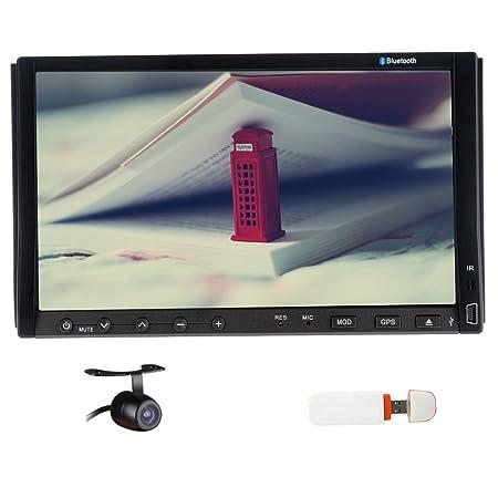 CamšŠra Rearview Inclus! 2 DIN 7 pouces šŠcran tactile LCD direction GPS Wheel Control Navigation 4GB Carte Card 3G gratuit Dongle TšŠlšŠcommande Bluetooth intšŠgršŠ SD /