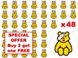 48 x 3cm BBC Children in Need Pudsey Bear Sitting Charity Fairy Cup Cake Toppers Decoration Edible Rice Wafer Paper
