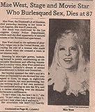 Mae West Obituary OBIT original clipping Newspaper photo 1pg 8x10 #Q4647