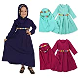 EITC Children Girls Muslim Dress Long Sleeves Skit Kids Long Dress Navy Blue/Green/Purple Suitable for 1-6 Years (Color: Navy Blue, Tamaño: 5 Years)