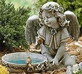 Joseph Studio 62852 Tall Angel Sitting By Solar Bird Bath Statue, 11-Inch