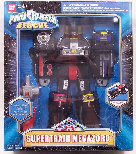 Power Rangers Rescue SUPERTRAIN MEGAZORD Action Figure Deluxe Box set by BANDAI with Missile Firing action. From 1999 (Power Ranger Model compare prices)