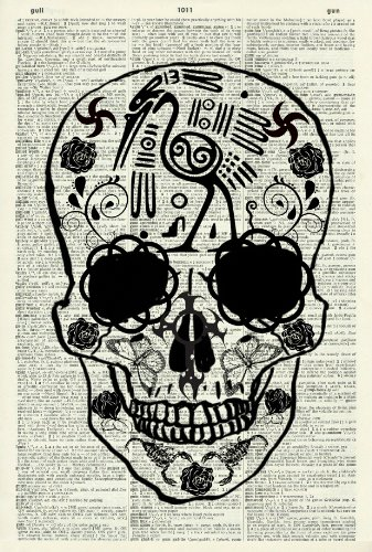 MEXICAN SKULL - Vintage Dictionary Art Print - Wall Hanging 342D