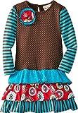 "Rare Editions Girls ""KALEIDOSCOPE FLORAL"" Size 2T-6X Ruffle Aqua Brown Red Dress"
