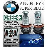 ICBEAMER BMW Angel Eye Headlight 12V 10W E92 H8 HALO RING LED Light Bulbs Replace Halogen Lamps [Color 10000K BLUE]