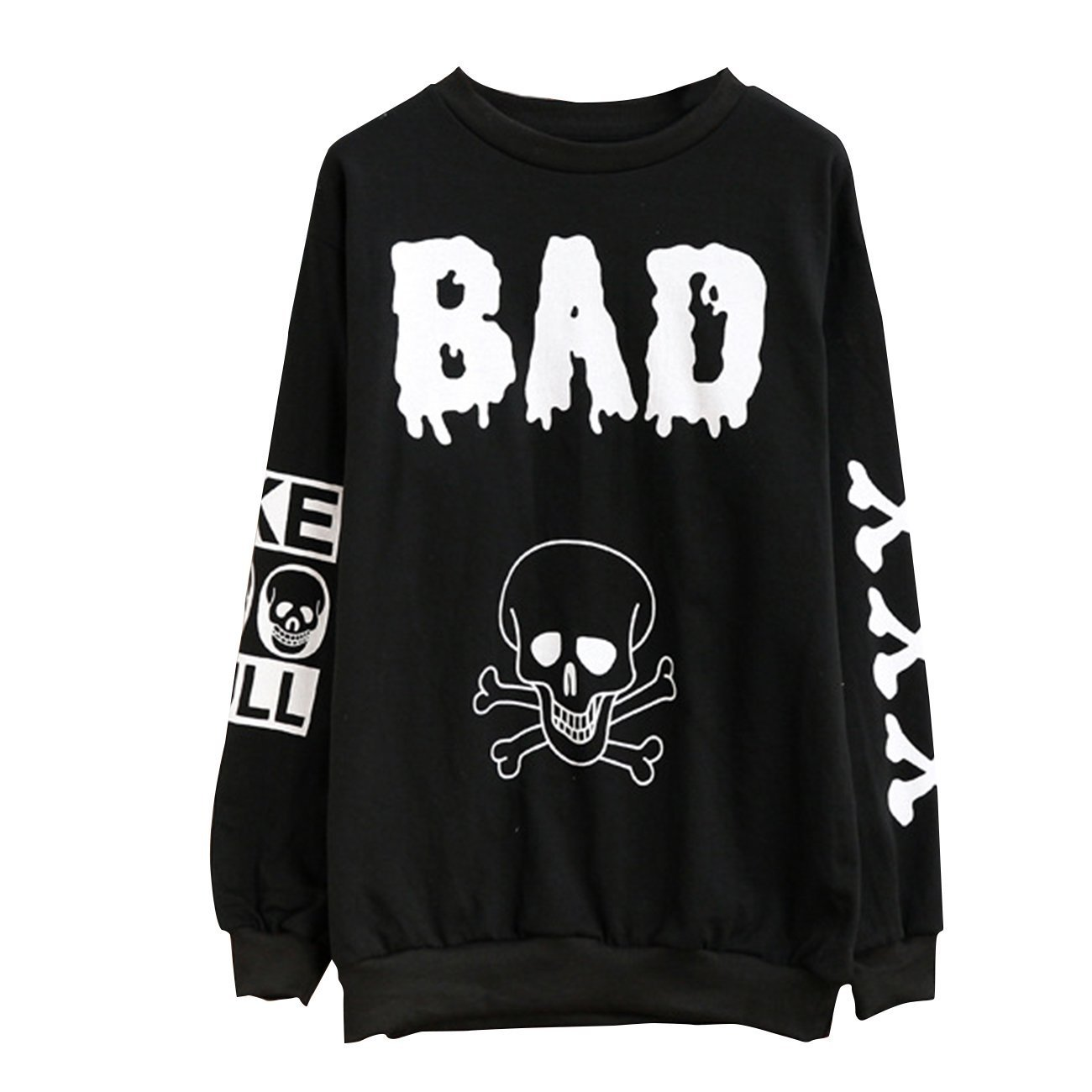 Women's Skull BAD Long Sleeve T Shirt Loose Pullover Sweatshirts