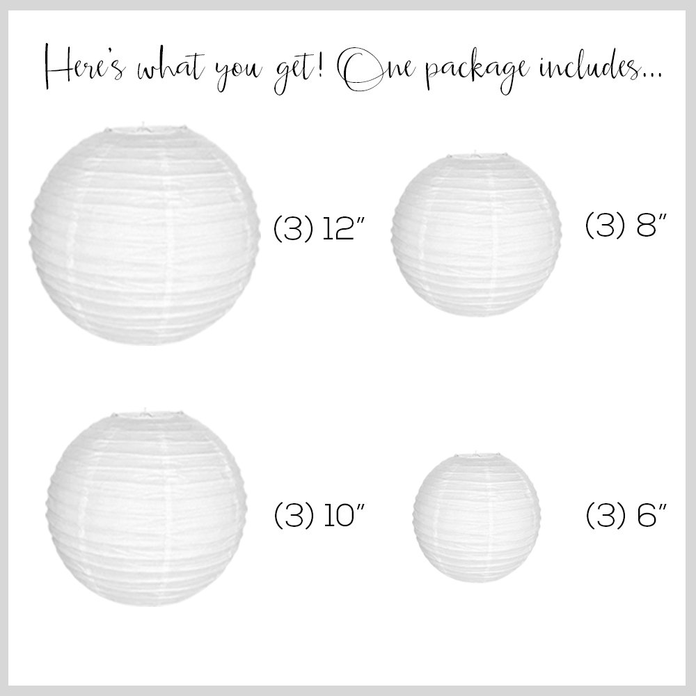 Just Artifacts Decorative Round Chinese Paper Lanterns 12pcs Assorted Sizes (Color: White)
