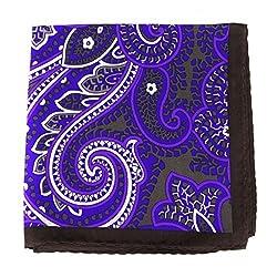 PS-A-530 - Silk Pocket Square - Blue - Purple - Brown