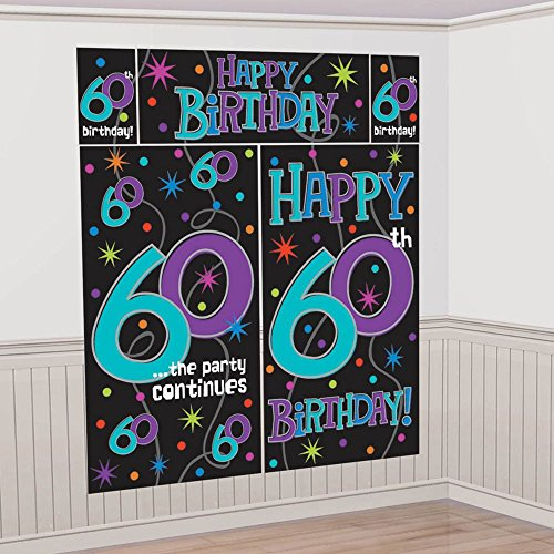 Amscan Printed with The No. 60 in Purple/Blue Festive Scene Setter Wall Décor, Black/Purple/Teal/Blue