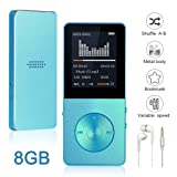 Mp3 Player Widon 8GB Mp4 Music Player Built-in Speaker HiFi Shuffle A-B Playback Bookmark Variable Speed for Audio Books Metal Body FM Radio Voice Recorder Gift for Kids Language Learning Blue3 (Color: BLUE, Tamaño: 8G)