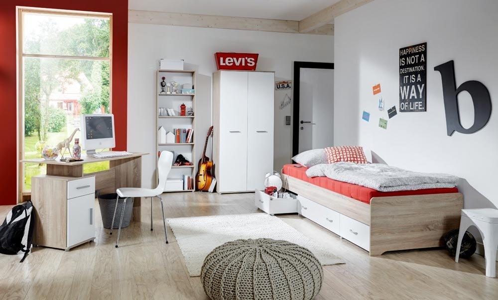 4-tlg. Jugendzimmer in Eiche Sonoma Sägerau Nachbildung und weiß mit Griffen in matten Silber, Kleiderschrank, Bett, Schreibtisch und Standregal jetzt kaufen