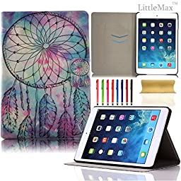iPad Air Case,LittleMax(TM) *Ultra thin* Card Holder Smart Case with Auto Wake/Sleep Feature *Magnetic Closure* Cover for Apple iPad Air/iPad 5[Free Cleaning Cloth,Stylus Pen]-#1Bright Dream Catcher