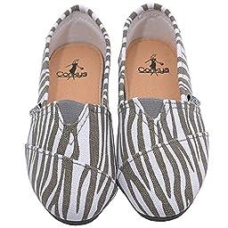 Corkys Girls Grey White Zebra Pattern Casual Slip On Flats 10 Toddler