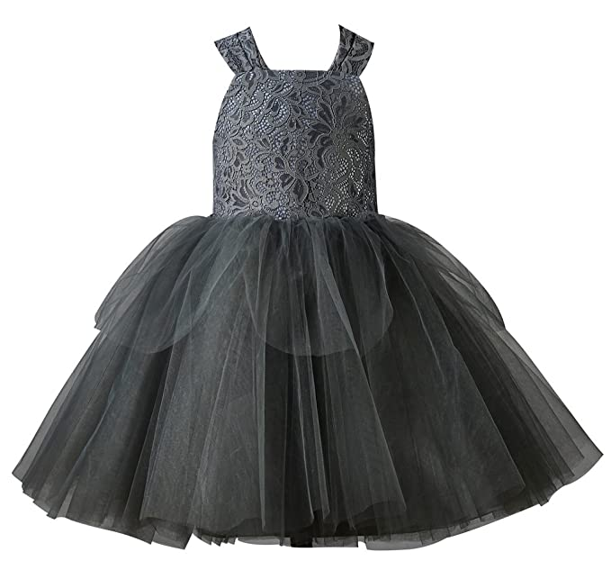 Thstylee Lace Tulle Cupcake Bow Flower Girl Dress Girl Toddler Wedding Dress