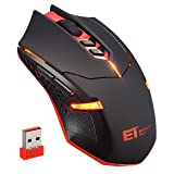 VicTsing Wireless Gaming Mouse with Unique Silent Click, Breathing Backlit, 2 Programmable Side Buttons, 2400 DPI, Ergonomic Grips, 7-Button Design - Red (Color: Red)