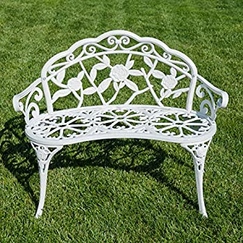 Belleze Cast Iron Antique Rose Style Design Outdoor Patio Garden Park Bench, White