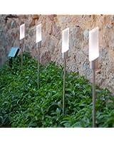 Lot de 4 Lampes Bornes Solaires à Piquet Chromé avec LED Blanche de Lights4fun
