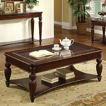 Marlowe English Style Dark Cherry Finish Coffee Table
