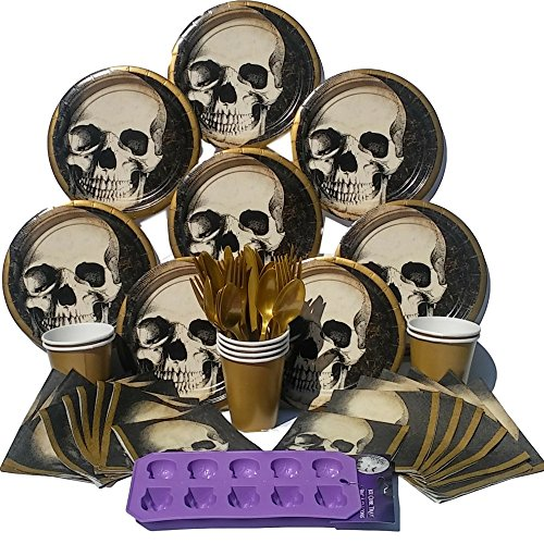Halloween-Skull-Party-Supplies-Tableware-Bundle-with-Plates-Napkins-Cups-Silverware-and-Skull-Ice-Cube-Tray-Serves-8