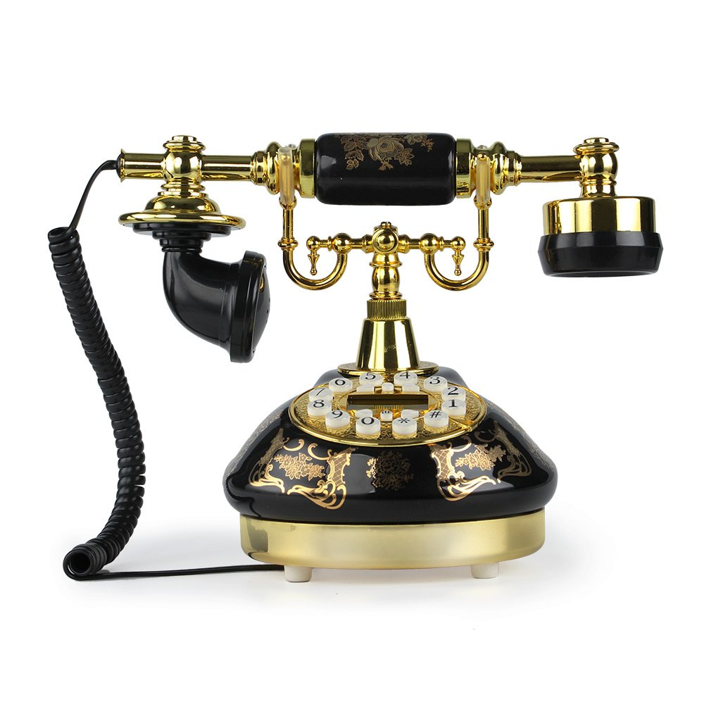 LNC Black Ceramic LNC Retro Vintage Antique Style Push Button Dial Desk Telephone Phone Home Living Room Decor 0