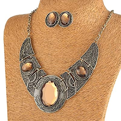 Brown Cut Acrylic Bead Pendant Black Tibet Silver Necklace Earrings Jewelry Set