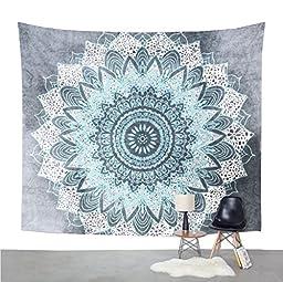 Mexidi Mandala Bohemian Printed Indian Bedspread Magical Wall Hanging Beach Towel Tapestry (L, Snow)
