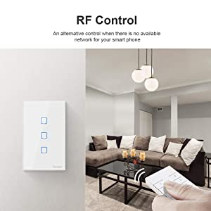 Sonoff TX T2 Smart Light Switch Wi-Fi Wall Switch, Compatible with Alexa and Google Home, Fit for US&CA Wall Switches, Remote Control with Timing Function, No Hub Needed (3 Gang) (Color: T2-White, Tamaño: 3 Gang)
