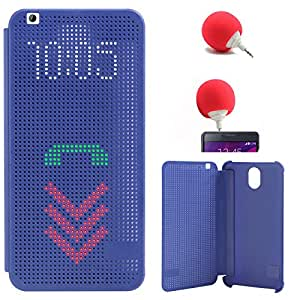 DMG Dot View Interactive Flip Cover Case for HTC Desire 620G (Blue) + 3.5mm Audio Dock Sponge Speaker