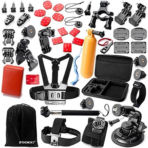 Zookki Outdoor Sports Bundle for Gopro Hero 5 4 3+ 3 2 1 Black Silver SJ4000 SJ5000 SJ6000, Accessory Kit for Xiaomi Yi/Lightdow/WiMiUS/DBPOWER
