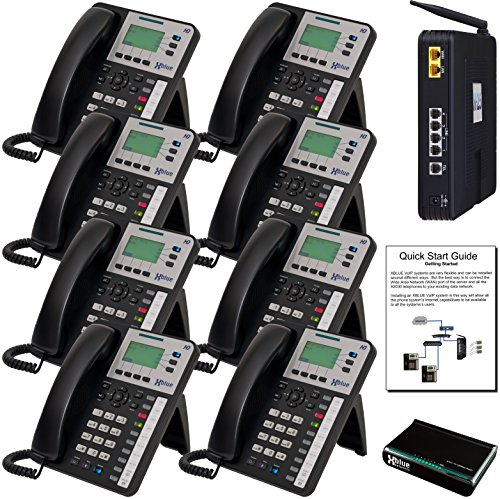 XBLUE X25 VoIP Phone System (C2508) with (8) X3030 IP Phones - Auto Attendant, Voicemail, Caller ID, Paging & Remote Phones (Remote Telephones compare prices)