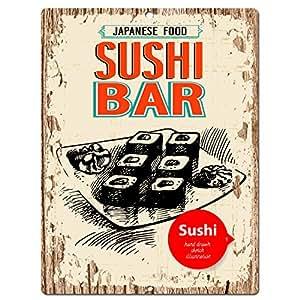 Japanese food sushi bar chic sign home kitchen for Bar decor amazon