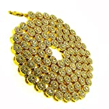 Men's flower cluster Crystal Chain Necklace – White Iced Out – 24K Gold Plated – Bling