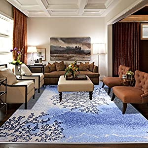 Ustide big floor carpet for living room blue for Living room rugs amazon