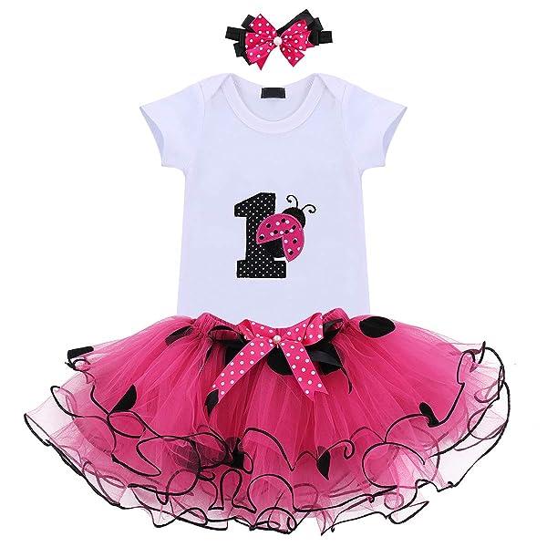 Baby Girls 1st Birthday Outfit Romper Polka Dot Dress Suspender Tutu Skirt Headband 3Pcs Clothes Set for Photo Shoot