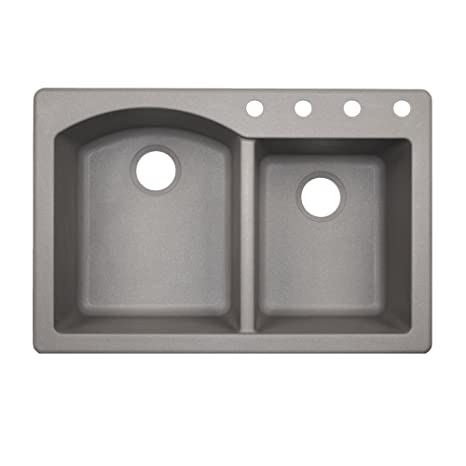 Swaoi|#Swanstone QZ03322DB.173-4 22-In X 33-In Granite Kitchen Sink 4-Hole, Metallico,