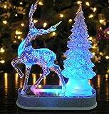 Reindeer and Christmas Tree Color Changing Acrylic Table Top Christmas Decoration - LED Christmas Decorations - Lighted Christmas Tree