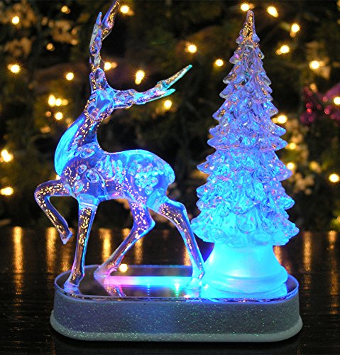 Reindeer and Christmas Tree Color Changing Acrylic Table ...