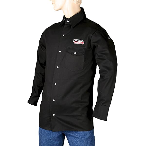 Lincoln Electric Black X-Large Flame-Resistant Cloth Welding Shirt (Color: Black, Tamaño: X-Large)