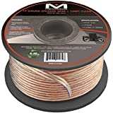 14AWG 2-Conductor Speaker Wire (100 Feet, Clear) by Mediabridge - Spooled Design with Sequential Foot Markings (Part# SW-14X2-100-CL )