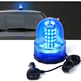 Xprite Super Bright Blue Rotating Revolving LED Beacon Strobe Light,with Magnetic Mount, 60LEDs 12W Emergency Warning Caution Flashing Light for Snow Plow Tru Light for Snow Plow Truck UTV 12v Vehicle