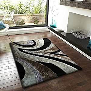 2 ft x 8 ft gray with black shaggy living for Living room rugs amazon