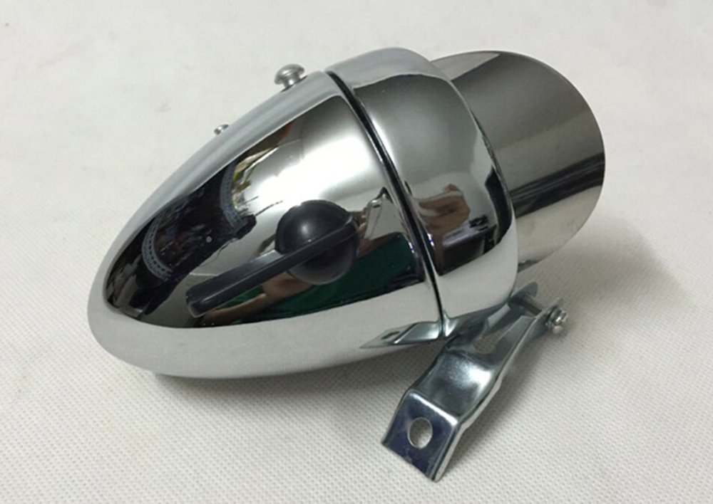 Goodkssop 180lm Vintage Retro Chrome Bicycle Bike LED Headlight Front Fog Head Light Lamp Silver 6