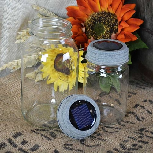 Mason Jar Galvanized Solar Lid Light