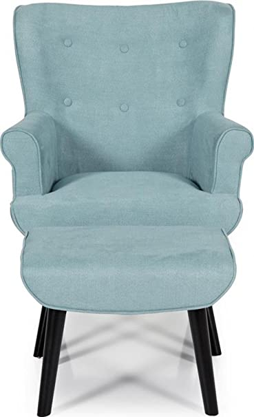 Serene Oban Retro Chair & Footstool Button Effect Fabric | Duck Egg Blue