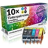 N.T.T.® 10x Tintenpatronen (2 SETS) XL mit Chip kompatibel zu PGI-520bk / CLI-521bk / CLI-521c / CLI-521m / CLI-521y