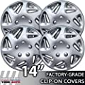 1998-2000 Dodge Caravan 14 Inch Silver Metallic Clip-On Hubcap Covers