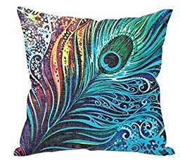 Ablevel Beautiful Peacock Personalized Square Cotton Blend Throw Pillow Case Decor Cushion Covers (Blue)